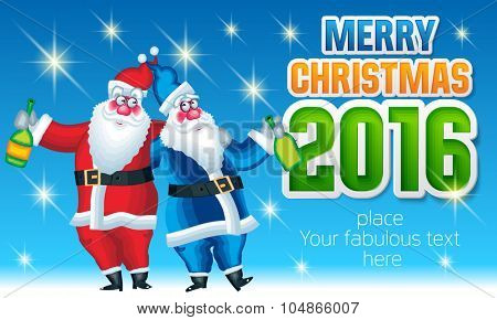 Vector Merry Christmas greeting card with Santa Claus and Father Frost with bottle of champagne and text with colorful font. With place for your fabulous greeting text