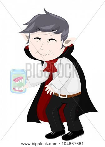 Illustration of a Vampire Storing His False Teeth in a Glass