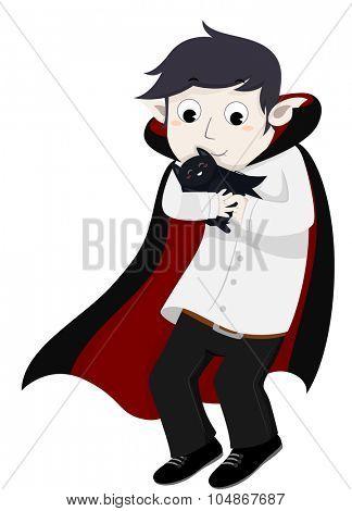 Illustration of a Vampire Embracing His Pet Bat