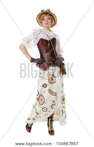 Steampunk Girl. Isolated On White Background