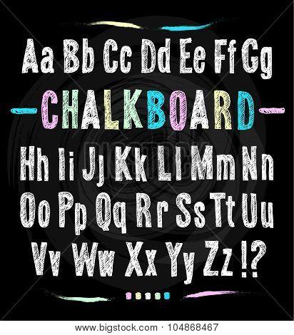 Chalkboard Font. Hand Draw Alphabet.