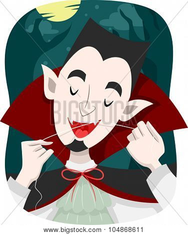 Illustration of a Vampire Using Dental Floss to Clean His Teeth