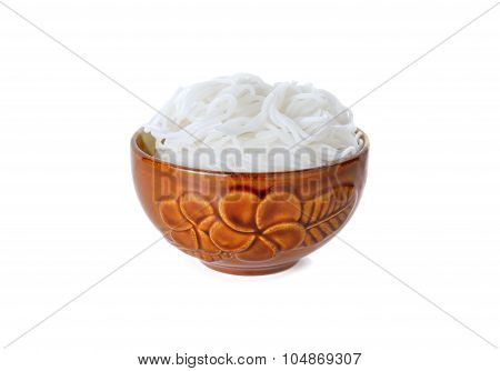 Rice Vermicelli Or Thai Noodle In Bowl On White Background