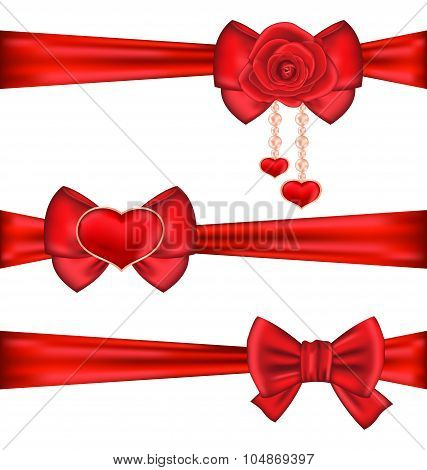 Set red gift bows ribbons with rose and heart, isolated on white