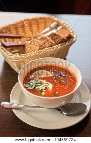 Traditional russian soljanka or saltwort soup