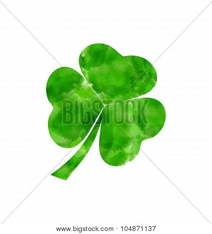 Painted watercolor shamrock isolated on white background for Sai