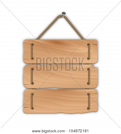 Wooden sign board with rope hanging on a nail