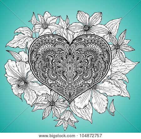 Beautiful Hand Drawn Ornate Heart In Zentangle Style With Clematis  Flowers And Leaves