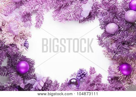 Christmas framework magenta fir isolated on white background.