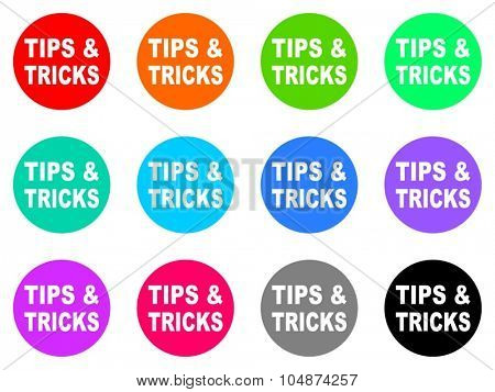 tips tricks flat design modern vector circle icons colorful set for web and mobile app isolated on white background