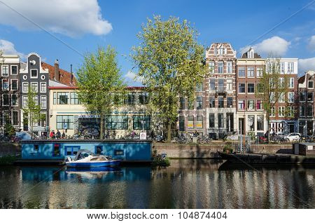 Amsterdam, Netherlands - May 7, 2015: People On The Street In The City Of Amsterdam