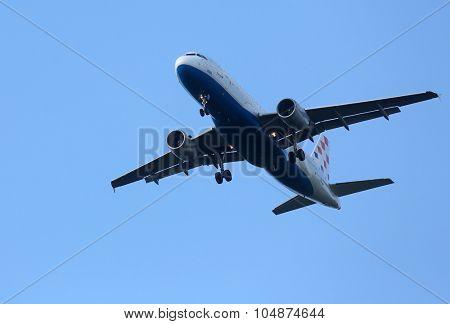 ZAGREB, CROATIA - JUNE 10: Airbus A320, registration 9A-CTJ of Croatia Airlines landing at Zagreb Airport Pleso on June 10, 2015.