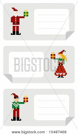 Xmas Labels With Elf Holding A Gift