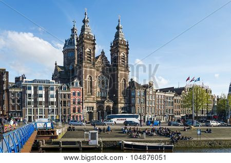 Amsterdam, Netherlands - May 8, 2015: Tourists At Church Of Saint Nicholas  in Amsterdam