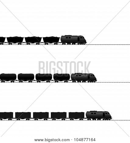 Three train with powered locomotive, cisterns oil, coal freight