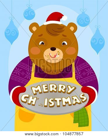 bear with Christmas cookies