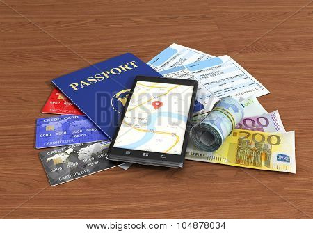 Business Travel And Tourism Concept; Air Tickets, Passport, Smar