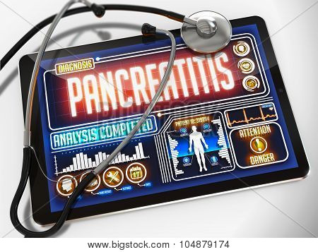 Pancreatitis on the Display of Medical Tablet.