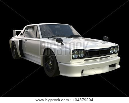 White sports coupe. White race car. Retro race. Japanese School tuning. Uniform black background. Th