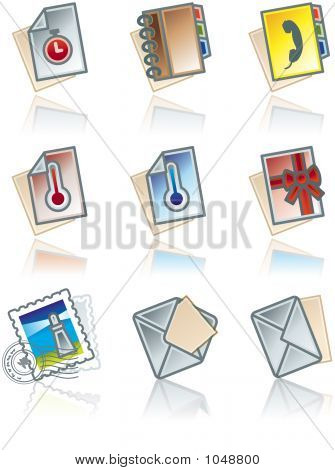 Design Elements 43C. Paper Works Icons Set