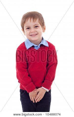 Cute And Shy Little Boy