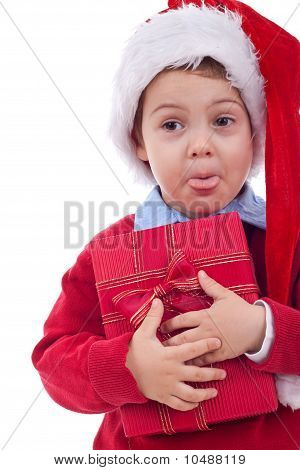 Santa Kid Sticking Out Tongue
