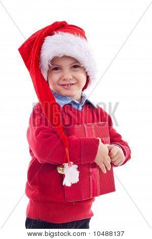 Santa Kid Holding A Present