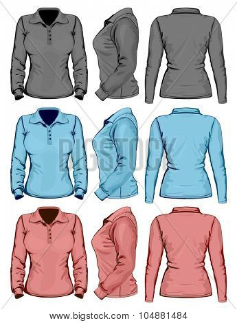 Women's polo-shirt design template (front, back and side view). Long sleeve. No mesh. Vector illustration