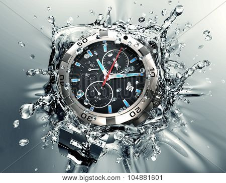 Wristwatch Splashing Into Water