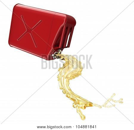 Red Jerry Can With Fuel Pouring And Splasing Out Of It