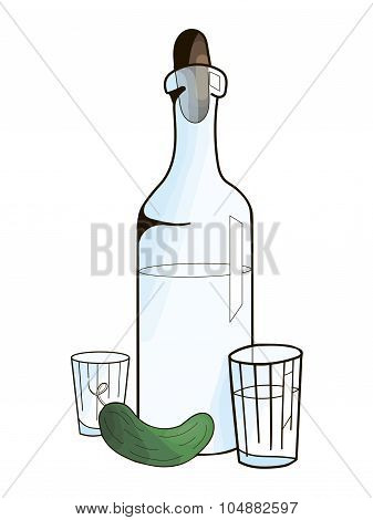 Bottle with vodka and cucumber vector illustration