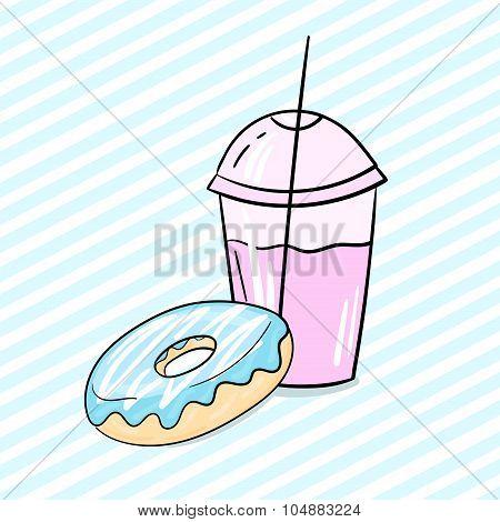 Donut and milkshake vector illustration