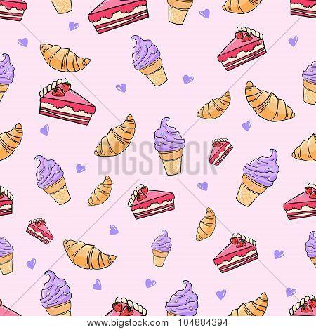 Croissant cake icecream seamless pattern vector
