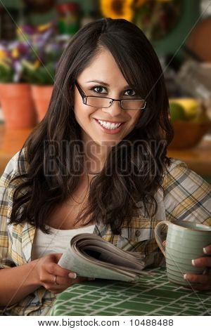 Beautiful Latina Woman With Cofee Or Tea