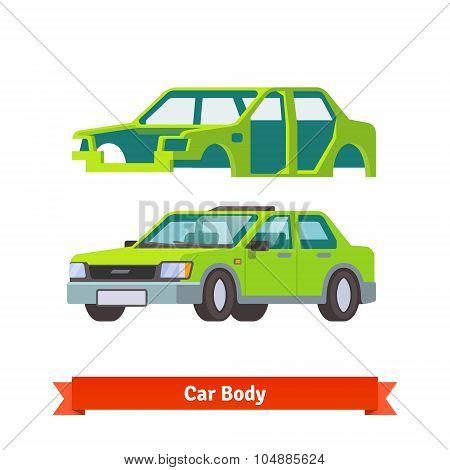 Car body and sedan auto built on it