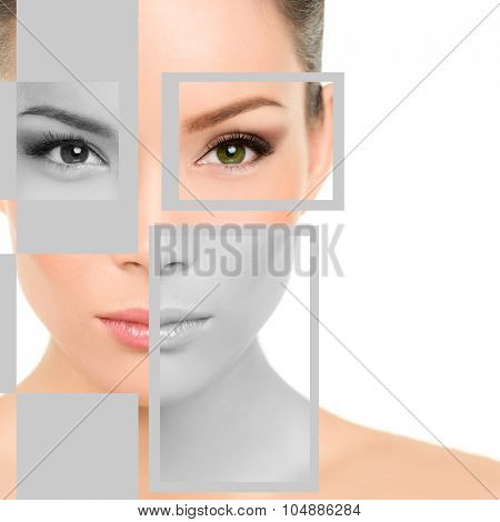 Closeup beauty portrait of young woman with geometric shapes on face. Beautiful mixed race Asian / Caucasian female is representing beauty concept. She is isolated over white background.