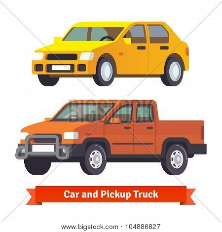 Pickup truck and middle sized sedan in 3d