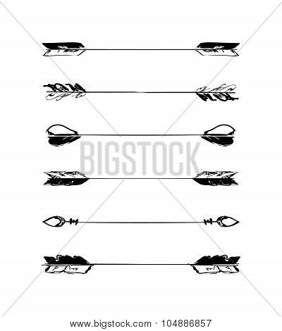 Retro scribble hand-drawn dividers set