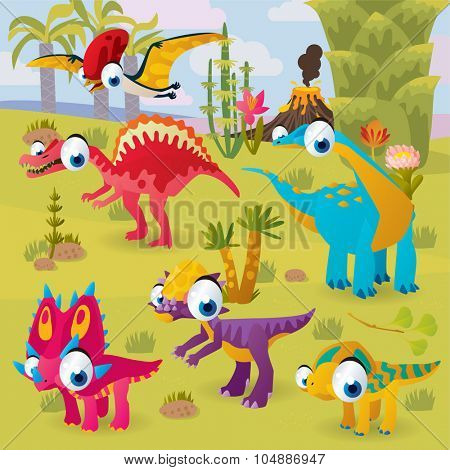 prehistoric funny cute cartoon scenery: dinosaurs in wild nature background