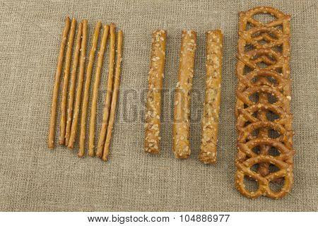 Salted sticks and pretzels. Bavarian salted pretzels.