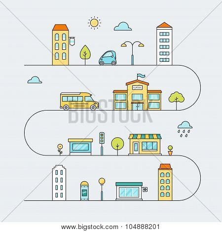 City Roads with Streets, Transport, School, Houses and Shops. Vector Outline Colored Illustration