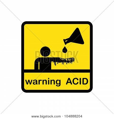 Stration Vector Creative Design Of Warning Acid On Square Yellow Background.