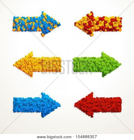 Set of vector vivid arrows made of plastic constructor blocks. Different colors and directions.