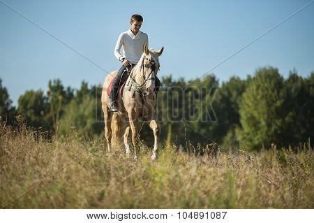 Attractive man on horseback