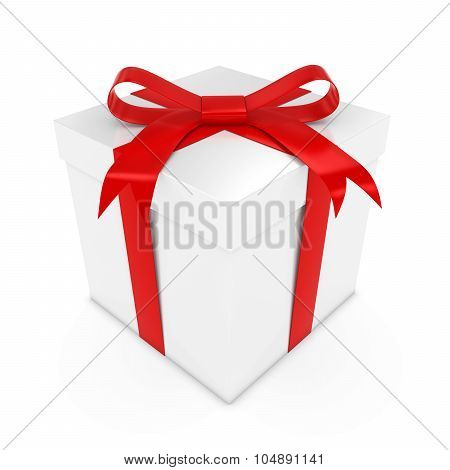 White Present Tied With A Red Bow - 3D Render Of A White Gift Box With A Red Ribbon Isolated On Whit