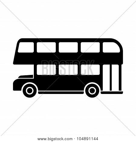 London Double Decker Bus Silhouette. Vector
