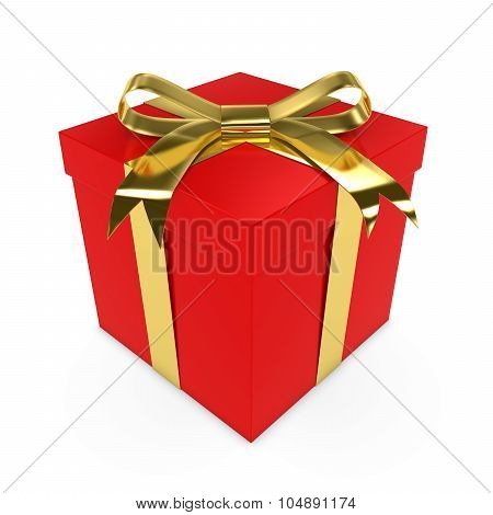 Red Christmas Present Tied With A Shiny Gold Bow - 3D Render Of A Red Gift Box With A Golden Ribbon