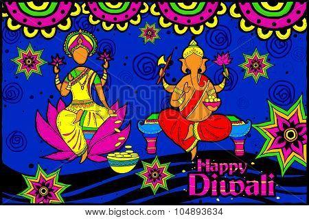 Lakshmi and Ganesha for Happy Diwali