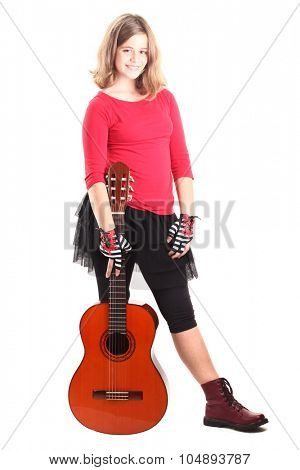 Child girl with guitar