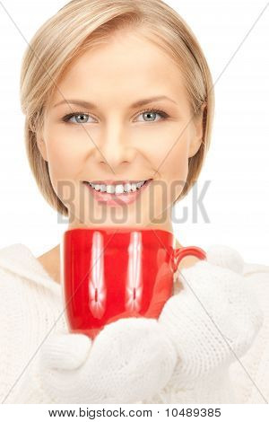 Beautiful Woman With Red Mug